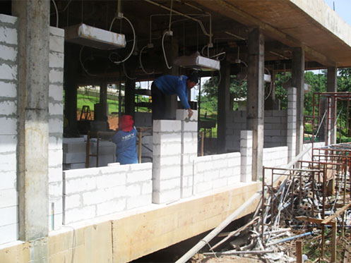 Laying Concrete Block first floor
