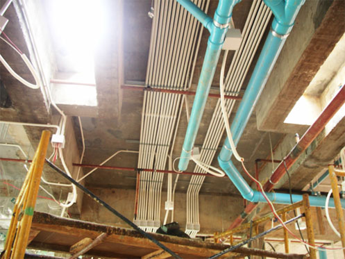 Install Electrical + Sanitary Conduits first floor