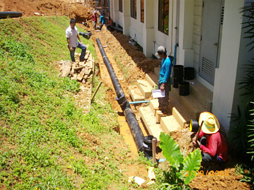 Install drainage pipes