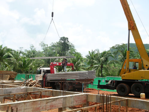 Install Hollow core Slab Work